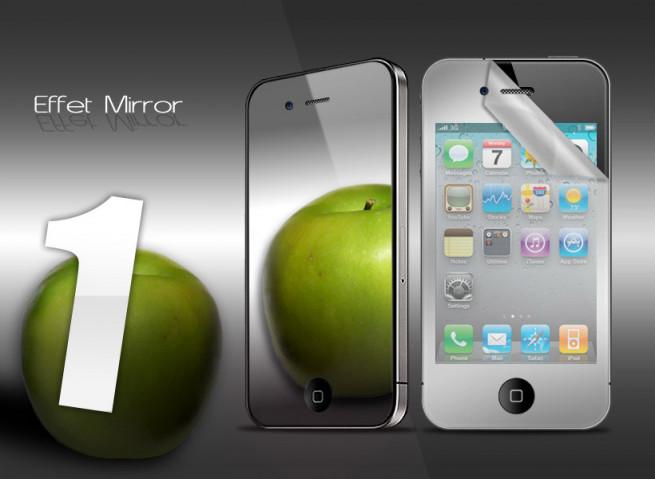 KIT 1 film protecteur effet Miroir + chiffon iPhone 4/4S