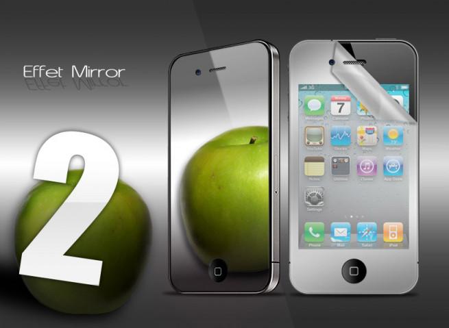 KIT 2 films protecteurs iPhone 4/4S MIROIR