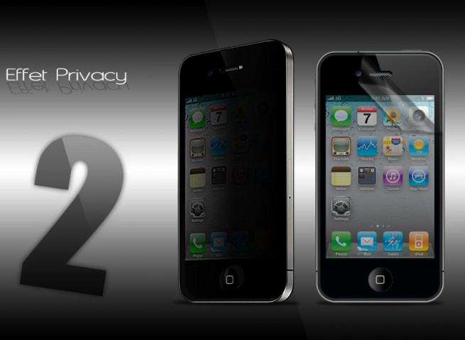 KIT 2 films protecteurs effet Privacy + chiffon iPhone 4/4S