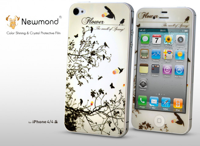 Sticker iPhone 4/4S +Film protecteur assorti Flower
