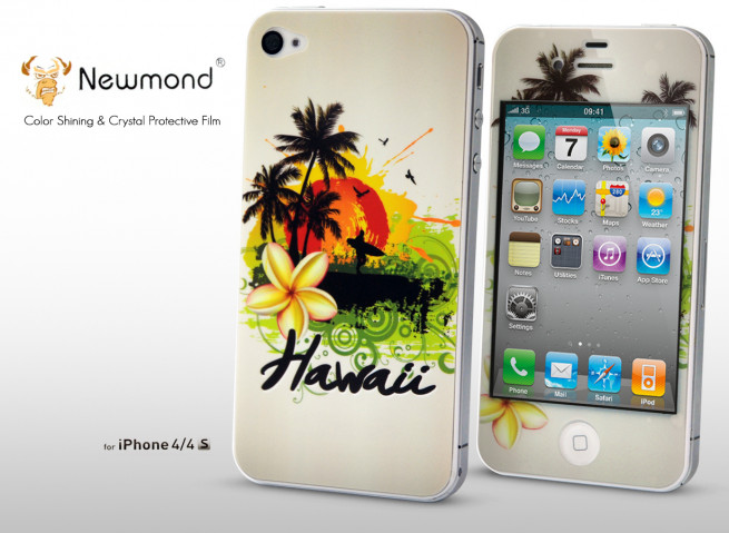 Sticker iPhone 4/4S +Film protecteur assorti Hawaii