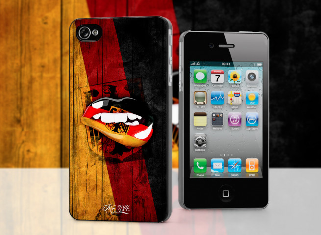 Coque iPhone 4/4S Lips Flag Germany