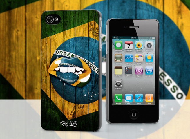 Coque iPhone 4/4S Lips Flag Brazil