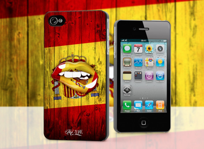 Coque iPhone 4/4S Lips Flag Espana