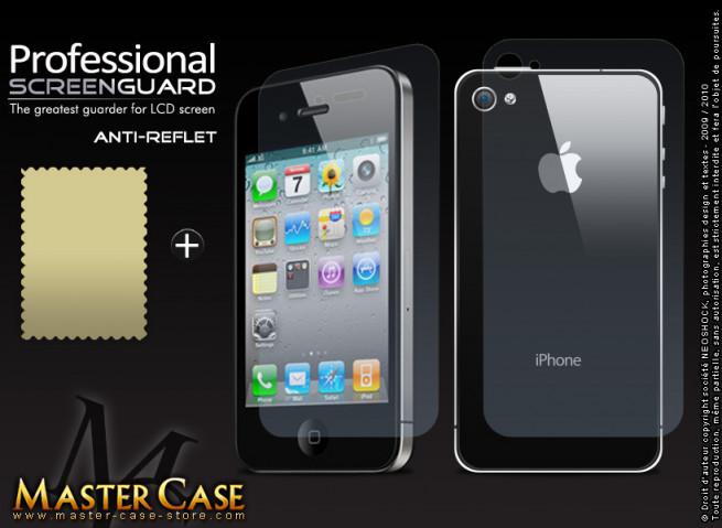 Kit 2 films protecteurs AVANT/ARRIERE Anti-Reflet + chiffon iPhone 4/4S