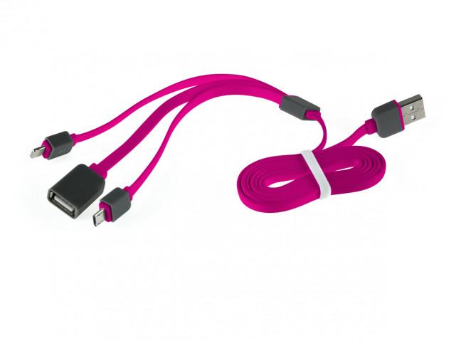 Câble Trio Lightning/Micro USB/ USB Plat 1M- Rose