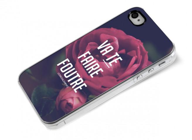 Coque iPhone 4/4S Dites-le avec des fleurs- Va te faire foutre