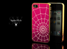 Coque iPhone 4/4S Spider Web-Rose