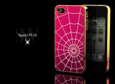 Coque iPhone 4/4S Spider Web-Rose