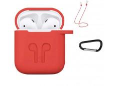 Pochette Silicone for Airpod 1-2 avec Crochet et Attaches Ecouteurs-Rouge