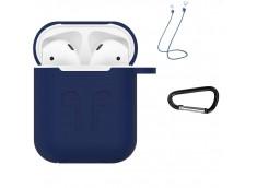 Pochette Silicone for Airpod 1-2 avec Crochet et Attaches Ecouteurs-Bleu Marine