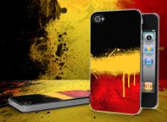 Coque iPhone 4/4S Drapeau Belgique Grunge Translucide