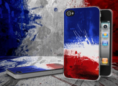 Coque iPhone 4/4S Drapeau France Grunge Translucide