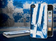 Coque iPhone 4/4S Drapeau Grece Grunge Translucide