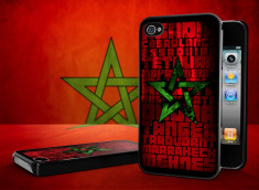 Coque iPhone 4/4S Drapeau Maroc Grunge Noir