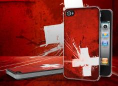 Coque iPhone 4/4S Drapeau Suisse Grunge Translucide