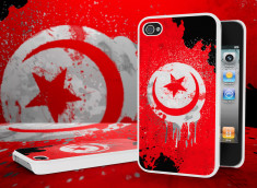 Coque iPhone 4/4S Drapeau Tunisie Grunge Blanc