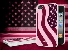 Coque iPhone 4/4S Drapeau US Girly Grunge Blanc