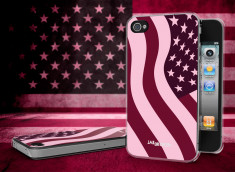 Coque iPhone 4/4S Drapeau US Girly Grunge Translucide