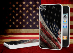 Coque iPhone 4/4S Drapeau USA Trash Grunge Blanc