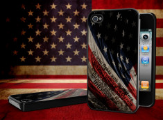 Coque iPhone 4/4S Drapeau USA Trash Noir