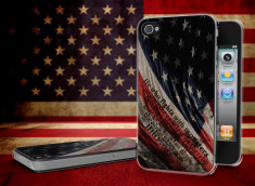 Coque iPhone 4/4S Drapeau USA Trash Translucide