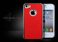 Coque iPhone 4/4S Silver Leather Color-Rouge