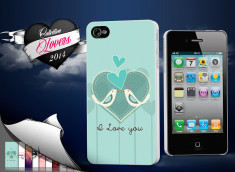 Coque iPhone 4/4S Saint Valentin 2014 - I Love You - Birds