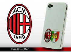 """Coque Officielle iPhone 4/4S """"A.C. Milan"""" - Blanc/Ecussons"""