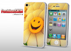 Sticker Karbon iPhone 4/4S Flower Smiley