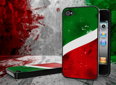 Coque iPhone 4/4S Drapeau Italie Grunge Noir