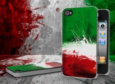 Coque iPhone 4/4S Drapeau Italie Grunge 2 Translucide