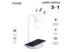 Lampe/Enceinte Bluetooth/Chargeur Induction Premium 5W -Blanc