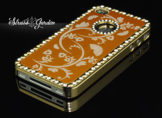 Coque iPhone 4 Strass Garden-Or