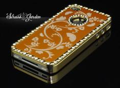 Coque iPhone 4 Strass Garden-Or