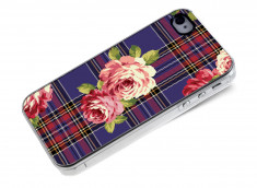 Coque iphone 4/4S Flowers and Blue Tartan
