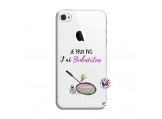 Coque iPhone 4/4S Je Peux Pas J Ai Badminton