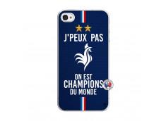 Coque iPhone 4/4S Je Peux Pas On Est Les Champions Du Monde Translu