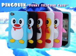 Coque iPhone silicone 4/4S Pingouin
