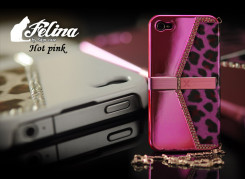 "Coque iPhone 4 ""Felina""-rose fuschia"