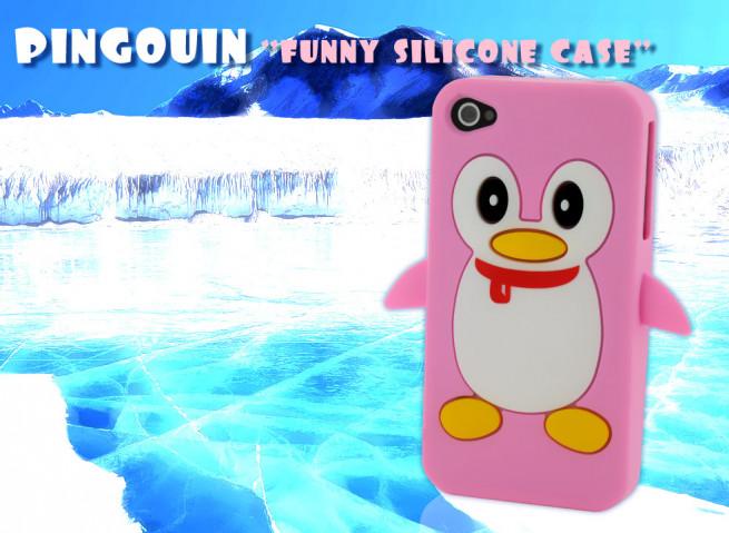 Coque iPhone silicone 4/4S Pingouin