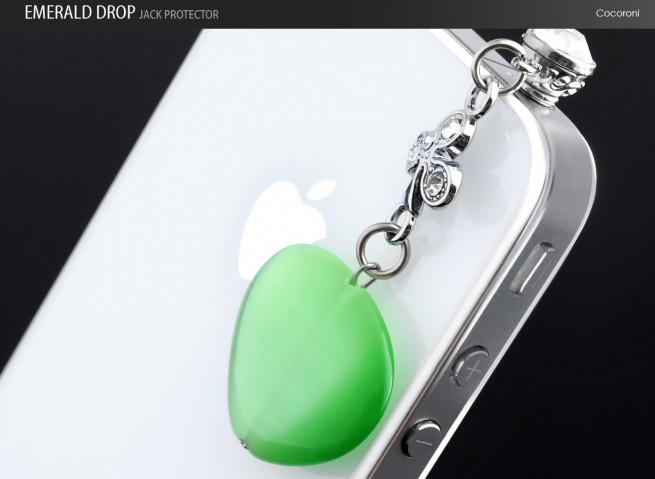 Bijou Capuchon Prise Jack Emerald Drop