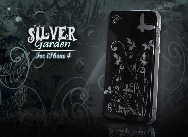 """Coque iPhone 4 """"Silver Garden"""" par Mastercase-noir"""