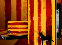 Coque iPhone 4 Drapeau Catalan Grunge